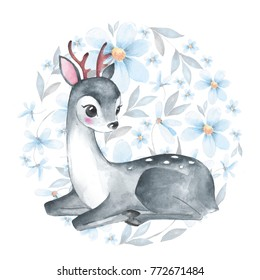 Baby Deer. Cute fawn and flowers. Watercolor illustration