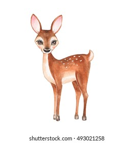 Baby Deer. Hand drawn cute fawn. Cartoon illustration, isolated on white. Watercolor painting