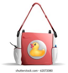 Baby Diaper Bag in Pink with Duck Design