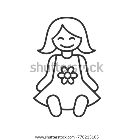 Baby Doll Linear Icon Thin Line Stock Illustration Royalty Free
