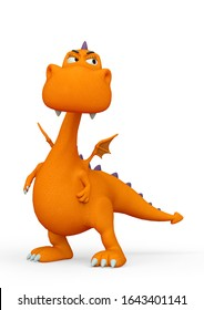 baby dragon cartoon looking suspicious in a white background, 3d illustration