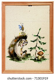 baby drawing of the hedgehog in wooden frame