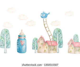 Baby dream land with treen and little house, helicopter nad strairs. Children illustration. Watercolor cute town. White background, greeting card, invite design poscard