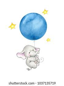 Baby elephant hanging on blue balloon