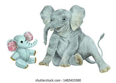 Baby elephant and little toy elephant on a white background, hand drawn watercolor illustration.