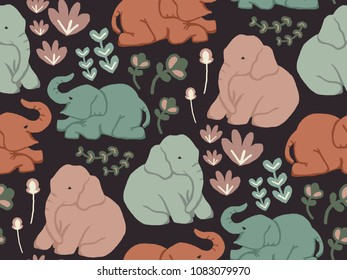 Baby Elephant playing in the garden. Seamless pattern with muted colors on dark background.