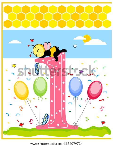 Baby Girl Birthday Invite Template Book Stock Image