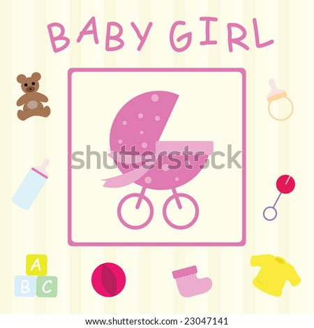 Baby Girl Congratulations Card Stock Illustration 23047141