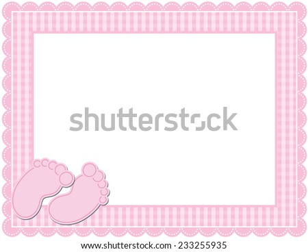 Baby GIRL Gingham Frame Gingham Patterned Frame Stock Illustration ...