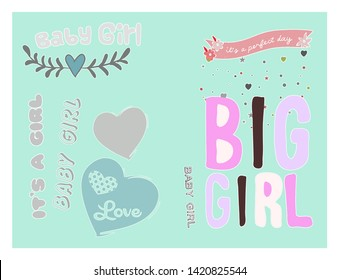 Baby Girl illustration background to be used for invitations, cards, greetings, photo frames...