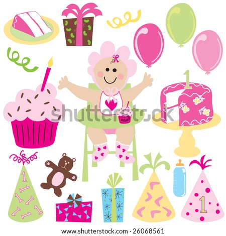 Baby Girls First Birthday With Balloons Cake Cupcake Gifts And Party Hats