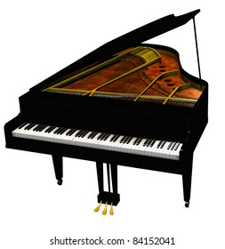 Baby Grand Piano, cover open eighty eight keys showing. Sounding board and steel strings Isolated on white background. Clip art, cutout illustration