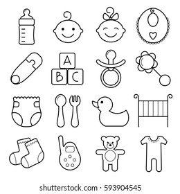 Baby line icons. Pacifier, diapers, booties, rattle and other items for babies. Baby toys, feeding and care thin linear signs.