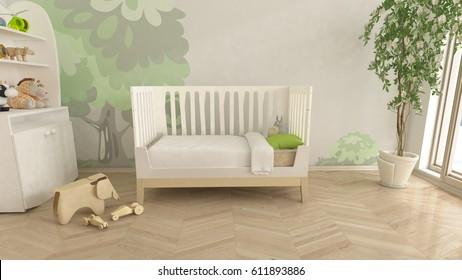 Baby Nursery children's room 3D rendering