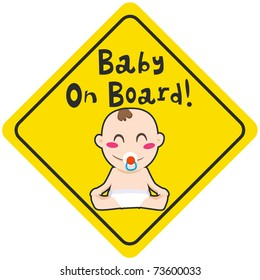 Baby on board yellow diamond warning sign for vehicle safety