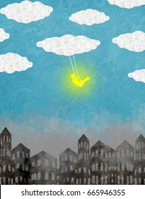baby on the swing with clouds and city digital illustration