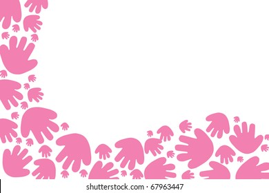 Baby pink handprints on a white background with copy space