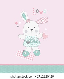 baby rabbit card in pink