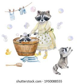 baby raccoon bathing, clipart, raccoon watercolor seamless pattern, soap bubbles, tub