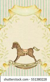 Baby Rocking Horse. Watercolor vintage card