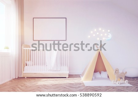 Baby room interior with a crib a tent a poster and a moon.  sc 1 st  Shutterstock & Baby Room Interior Crib Tent Poster Stock Illustration 538890592 ...