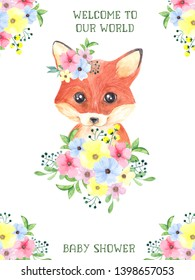 Baby shower card with cute firest friends, raccoon, fox, deer and bunny. Watercolor illustration spring flowers and leaves, baby party invitation