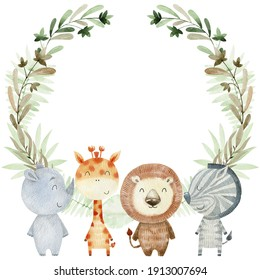Baby shower card. Watercolor safari card with animals.