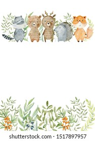 Baby shower card. Watercolor woodland card with animals.