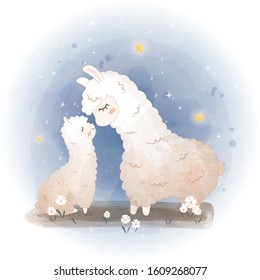 Baby shower cards. Cute llama, alpaca mother in flowers,  Vector lama mom and baby