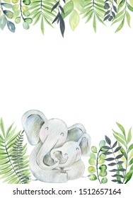 Baby shower cards. Watercolor elephant mom and baby