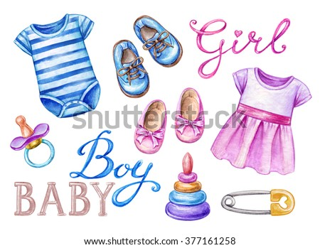 Baby Shower Clip Art Newborn Girl Stock Illustration 377161258