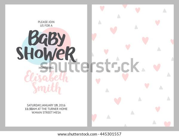 Mesa De Pastel Para Baby Shower.Baby Shower Girl Boy Invitations Pastel Stock Illustration