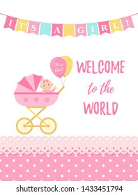 Baby Shower girl card. Baby girl design. Cute pink banner with newborn kid, pram, flag, polka dot. Birth party background. Happy greeting poster. Welcome template invite. Cartoon illustration