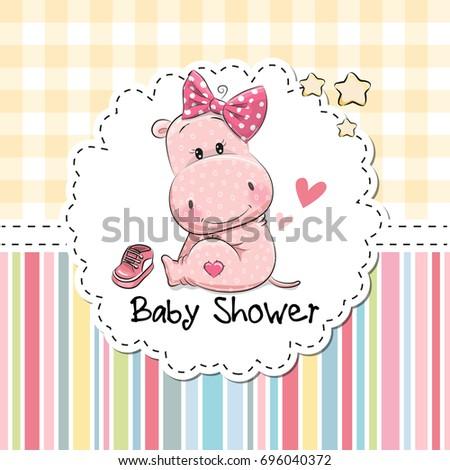 Baby shower greeting card cute cartoon stock illustration 696040372 baby shower greeting card with cute cartoon hippo girl m4hsunfo