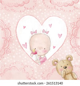 Baby shower greeting card with small girl holding feeding bottle with teddy bear. Newborn photo album cover.