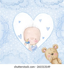 Baby shower greeting card with small boy holding feeding bottle with teddy bear. Newborn photo album cover.