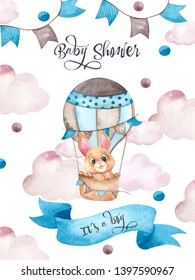 Baby shower illustration with cute animals, air balloon, clouds and garland for baby boy, watercolor hand draw element