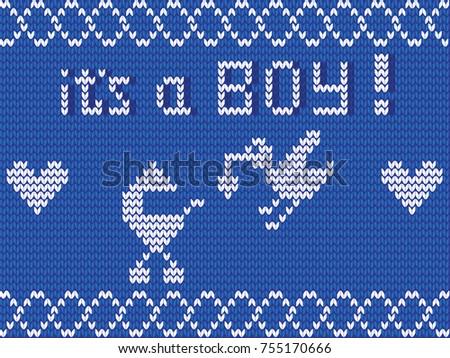 Baby Shower Invitation Boy Knitting Illustration Stock Illustration