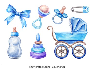 baby shower isolated design elements, watercolor illustration, newborn boy products