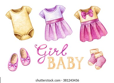 baby shower isolated design elements, watercolor illustration, newborn girl products, girlish wear