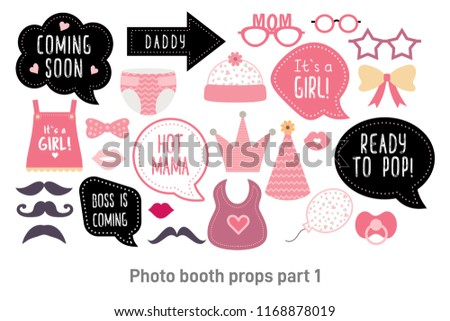 Baby Shower Photo Booth Props Happy Stock Illustration 1168878019