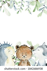 Baby shower wreath. Watercolor woodland card with animals.