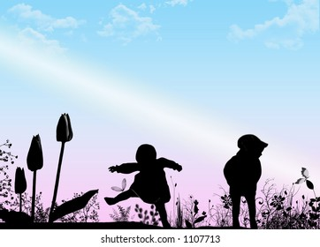 Baby silhouette's with garden on gradient background for Mother's Day.