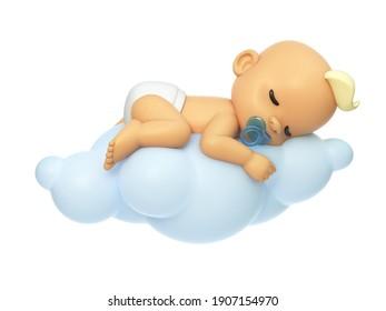 Baby schlafen auf der 3. Cloud-Illustration, Cartoon baby Charakter 3d Rendering