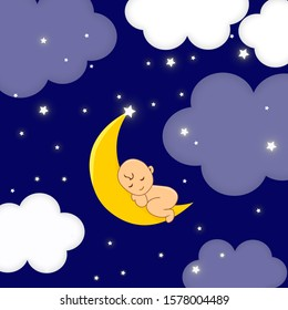 Baby sleeping on moon. Lullaby