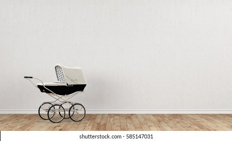 Baby stroller in front of concrete wall 3d rendering