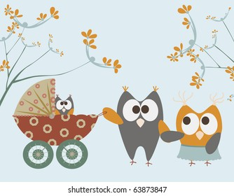 baby stroller with owls.raster