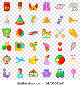 Baby toy icons set. Cartoon style of 36 baby toy icons for web for any design