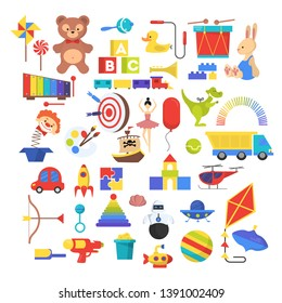 Baby toy set. Cute funny toys for little kid. Bear, car and doll as a gift for child. Isolated  illustration in cartoon style.