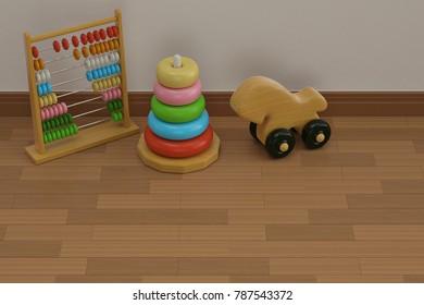 Baby toys on wooden floor 3D illustration.